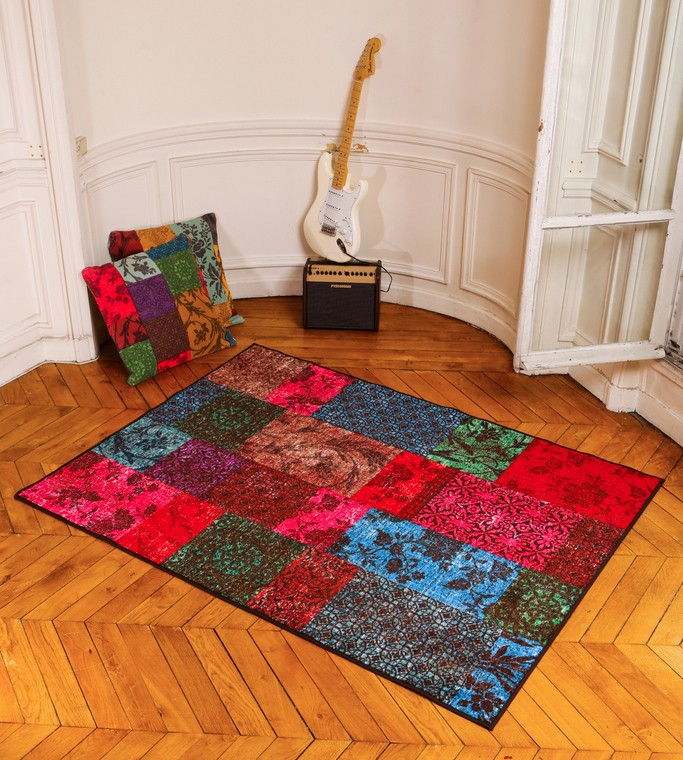les tapis tapis pas cher lavable en machine isparta patchwork rouge pour le salon. Black Bedroom Furniture Sets. Home Design Ideas
