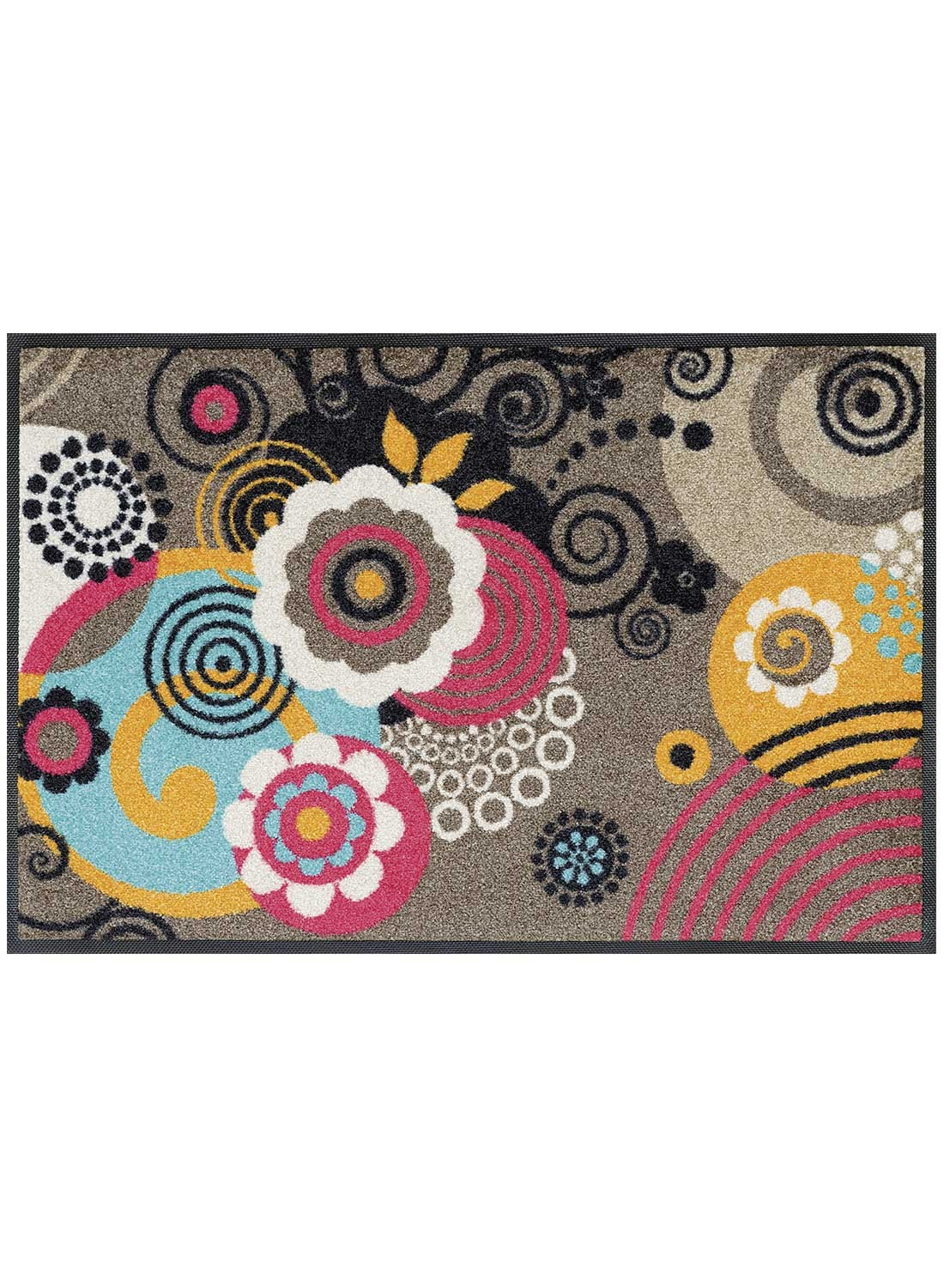 Tapis d'entrée LOOPS AND FLOWERS TX multicouleur
