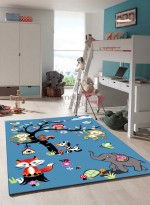 Tapis JUNGLE bleu