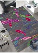 Tapis Tapis noué main de salon design CAMOUFLAGE multicolor